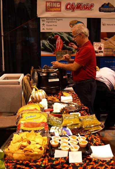 Harold serving green chili at the King Soopers Health Expo