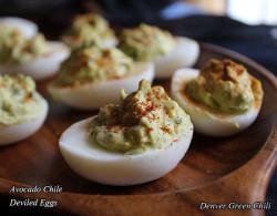 Avocado Chili Deviled Eggs