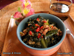 Sausage & Greens - packed with nutrition and flavor and reminiscent of classic Southern fare. This dish can be served as a main dish or a side dish... or an entire meal in itself.