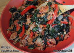 Sausage Peppers and Greens