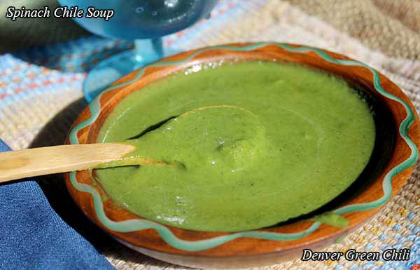 Spinach Chile Soup - full of flavor, pretty, nutritious, and even easy. Great by itself or with shredded chicken or veggies cooked in.