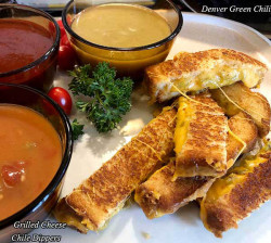 Grilled Cheese Chile Dippers are classic comfort food, basically grilled cheese sandwich strips that you dip in enchilada sauce or soup. Yummy!