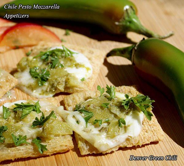 Chile Pesto Mozzarella Appetizers